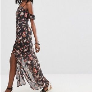 Boohoo black floral dress